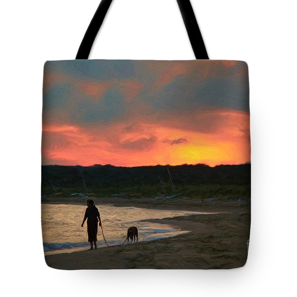 Walking The Dog Tote Bag by Jeff Breiman