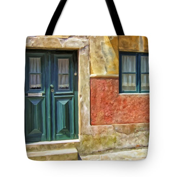 Tote Bag featuring the painting Walking Through Vila De Conde by Michael Pickett