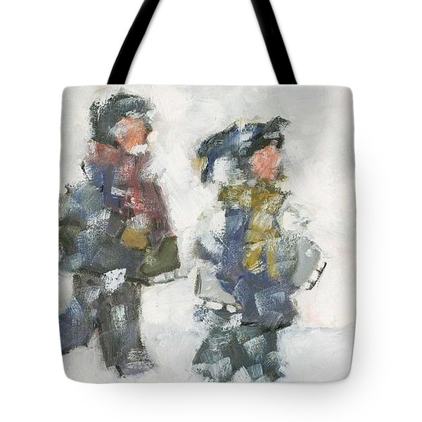 Walking To The Rink Tote Bag by David Dossett
