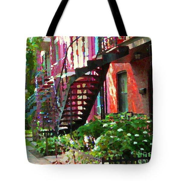 Walking Verdun Spiral Staircases Graceful Circular Steps Montreal Colorful Scenes Carole Spandau  Tote Bag by Carole Spandau