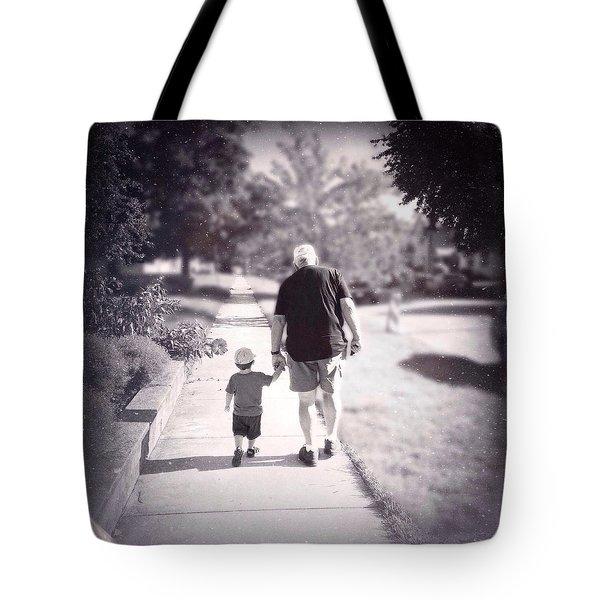 Walking With Grandpa Tote Bag