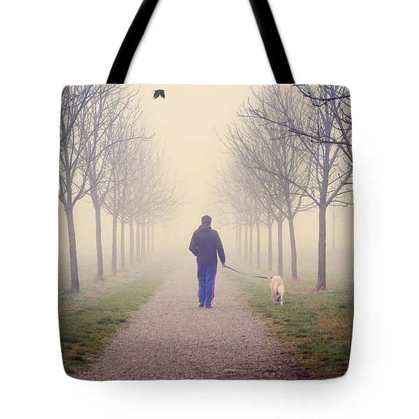 Walking With The Dog Tote Bag