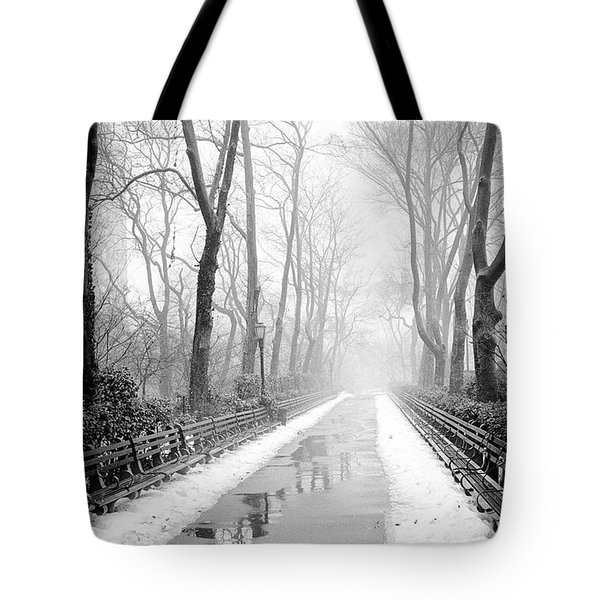 Walkway Snow And Fog Nyc Tote Bag