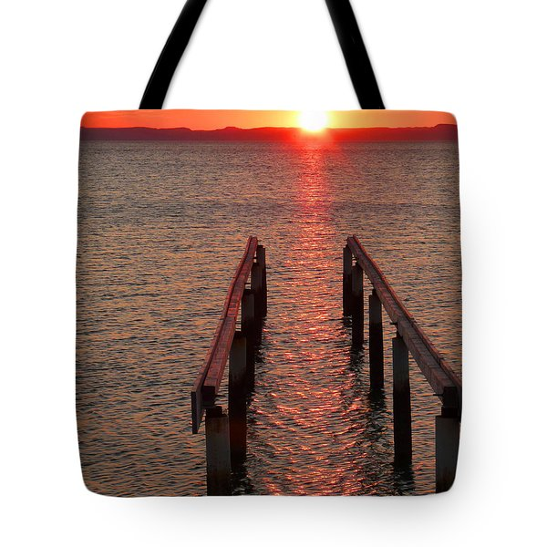 Tote Bag featuring the photograph Walkway To The Sun by Alan Socolik