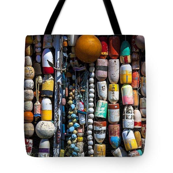 Wall Of Fishing Buoys Tote Bag