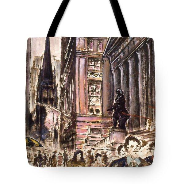 New York Wall Street - Fine Art Painting Tote Bag