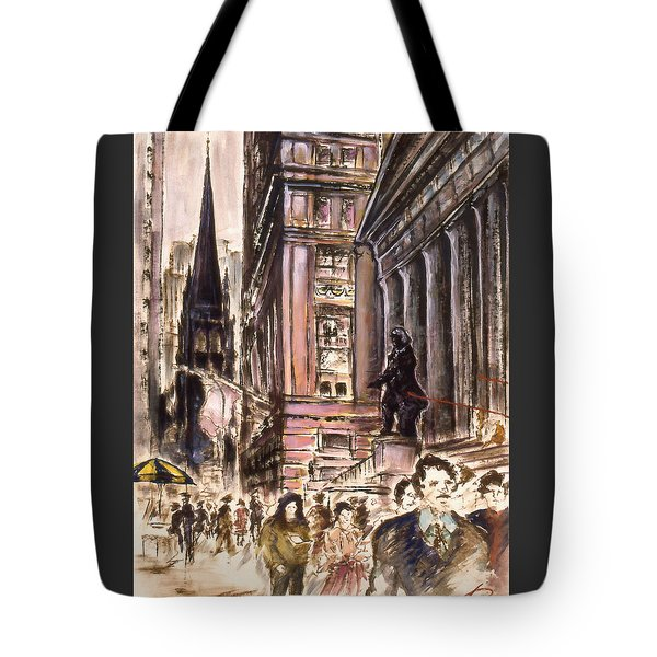 New York Wall Street - Fine Art Tote Bag by Art America Gallery Peter Potter