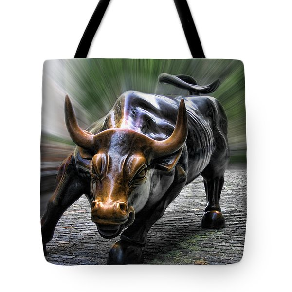 Wall Street Bull Tote Bag by Wes and Dotty Weber