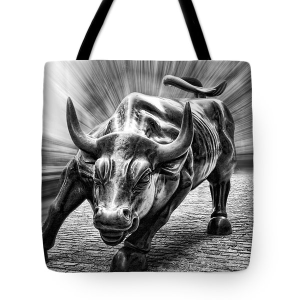 Wall Street Bull Black And White Tote Bag by Wes and Dotty Weber