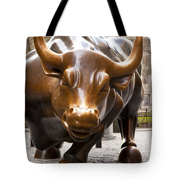 Wall Street Bull Tote Bag by Brian Jannsen