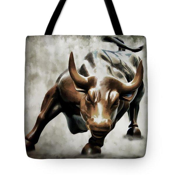 Wall Street Bull II Tote Bag by Athena Mckinzie