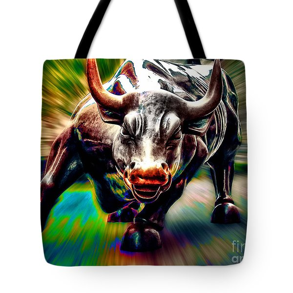 Wall Street Bull Tote Bag by Marvin Blaine