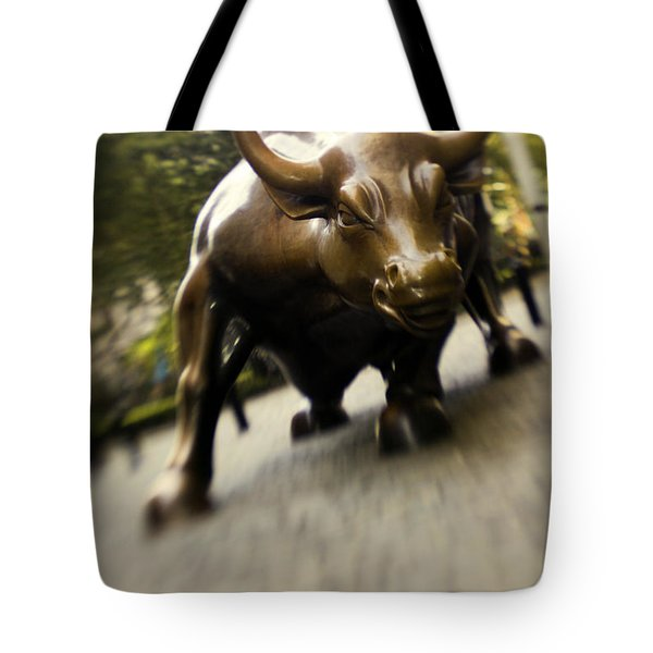 Wall Street Bull Tote Bag by Tony Cordoza
