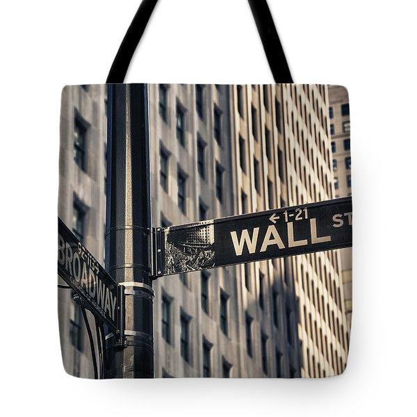 Wall Street Sign Tote Bag