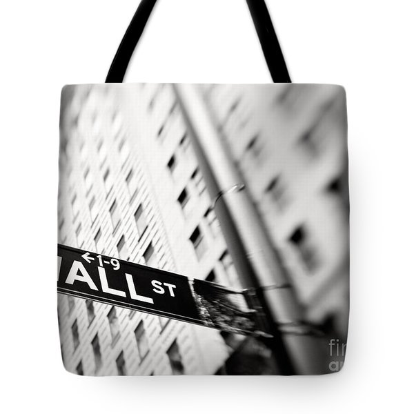 Wall Street Street Sign Tote Bag by Tony Cordoza