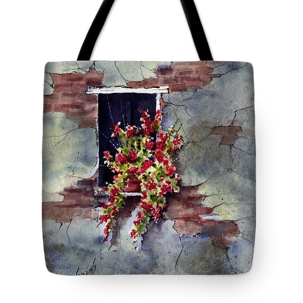 Wall With Red Flowers Tote Bag by Sam Sidders