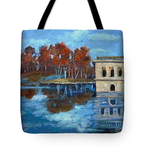 Tote Bag featuring the painting Waltham Reservoir by Rita Brown
