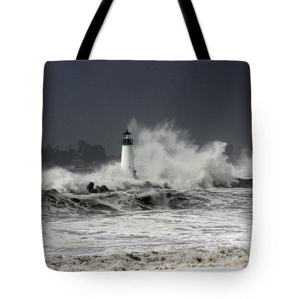 Walton Lighthouse Takes A Beating Tote Bag