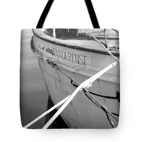 Wanderlust Black And White Tote Bag by Amanda Barcon