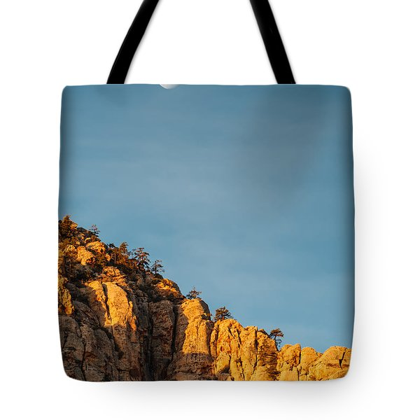 Waning Gibbous Moon Over The Craggy Peaks Of Red Rock Canyon Tote Bag