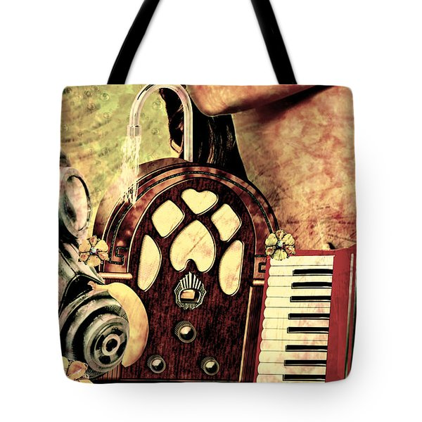 Tote Bag featuring the mixed media War Dreams by Ally  White