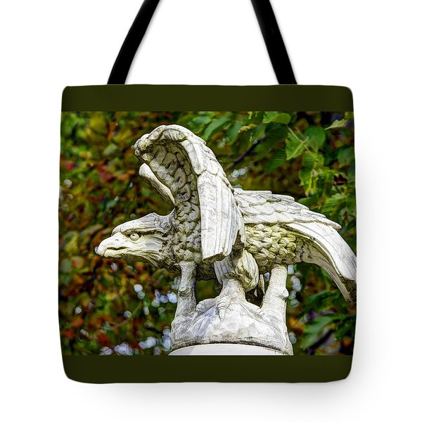 Tote Bag featuring the photograph War Eagles - Vermont Company F 1st U. S. Sharpshooters Pitzer Woods Gettysburg by Michael Mazaika