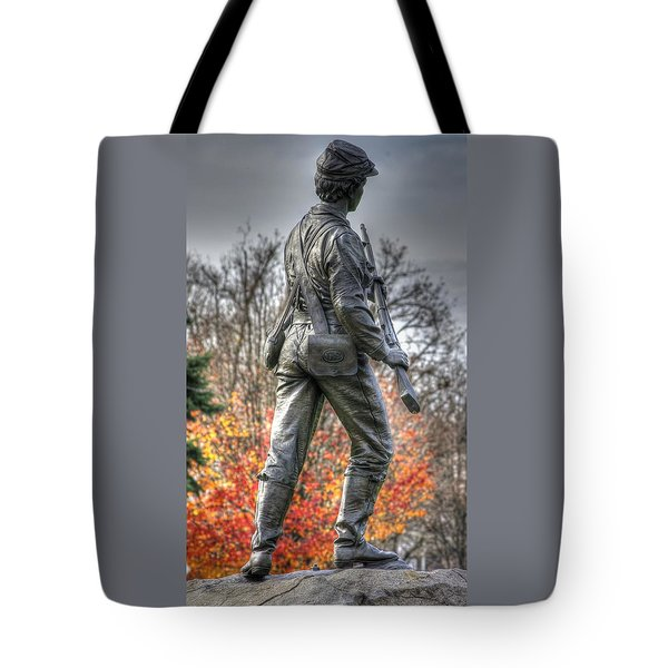 Tote Bag featuring the photograph War Fighters - 26th Pennsylvania Emergency Militia Infantry-b1 Defending The Town Of Gettysburg by Michael Mazaika