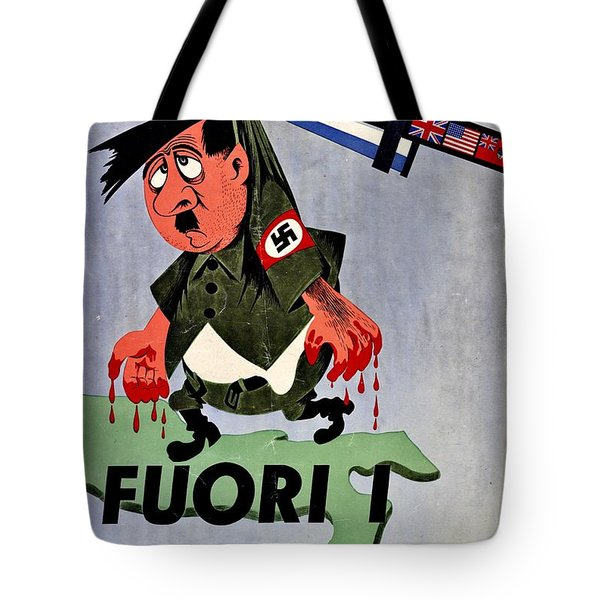 War Poster - Ww2 - Out With The Fuhrer Tote Bag by Benjamin Yeager
