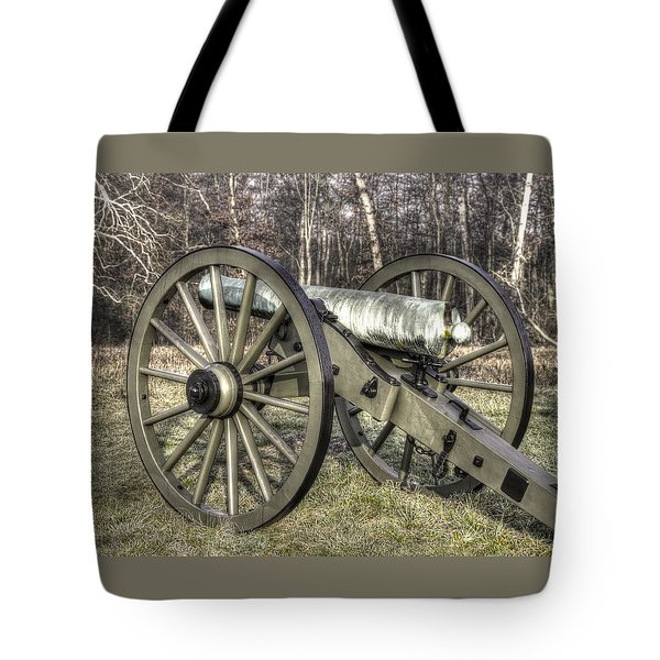 Tote Bag featuring the photograph War Thunder - 1st New York Light Artillery-c1 Battery D The Wheatfield Late Winter Gettysburg by Michael Mazaika