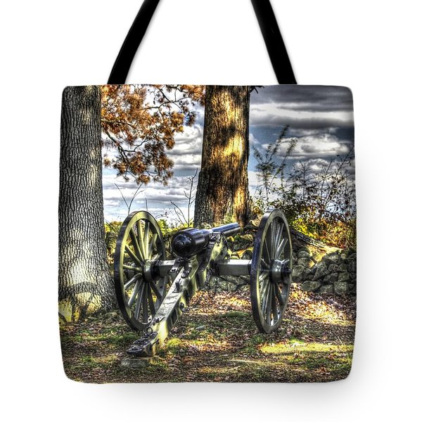 Tote Bag featuring the photograph War Thunder - Lane's Battalion Ross's Battery-b1 West Confederate Ave Gettysburg by Michael Mazaika