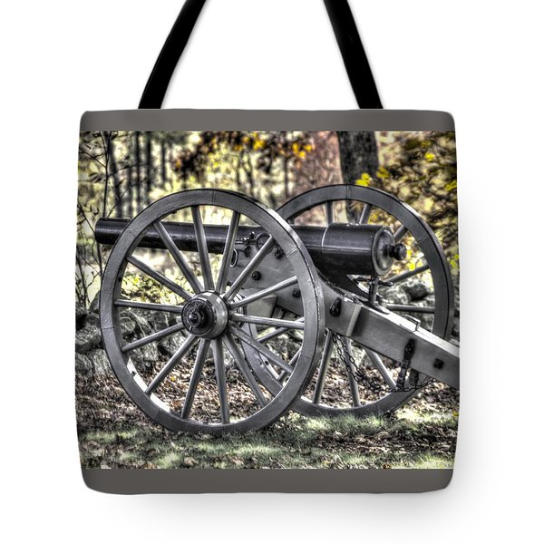 Tote Bag featuring the photograph War Thunder - The Albemarle Va Artillery Wyatt's Battery-b1 West Confederate Ave Gettysburg by Michael Mazaika