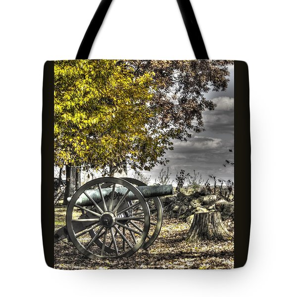 Tote Bag featuring the photograph War Thunder - The Purcell Artillery Mc Graw's Battery-a2 West Confederate Ave Gettysburg by Michael Mazaika