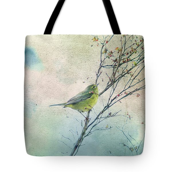 Warbler In A Huckleberry Bush Tote Bag by Peggy Collins