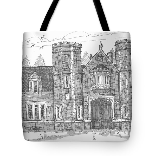 Tote Bag featuring the drawing Ward Manor Bard College by Richard Wambach
