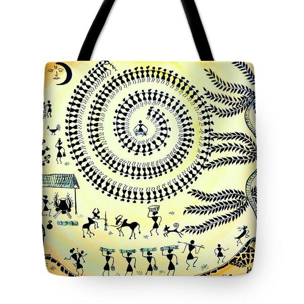 Warli Day Tote Bag by Anjali Vaidya