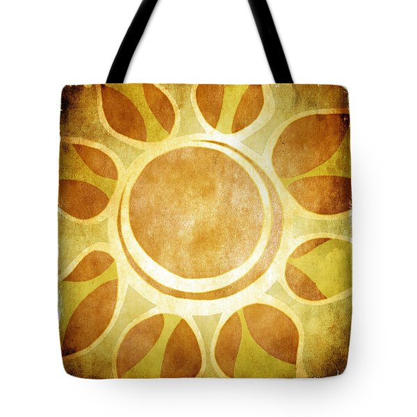 Tote Bag featuring the drawing Warm Sunny Flower by Lenny Carter