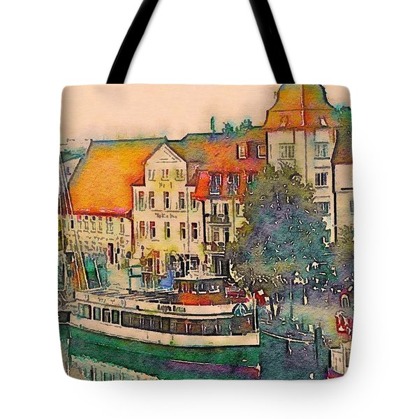 Tote Bag featuring the photograph Warnemunde In Watercolor by Susan Maxwell Schmidt
