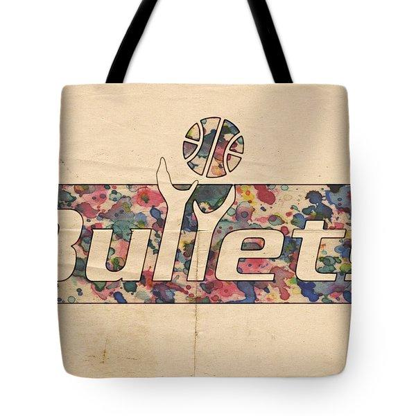 Washington Bullets Retro Poster Tote Bag by Florian Rodarte