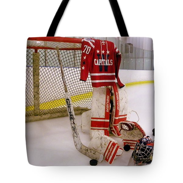Washington Capitals Braden Holtby Winter Classic 2015 Jersey Tote Bag