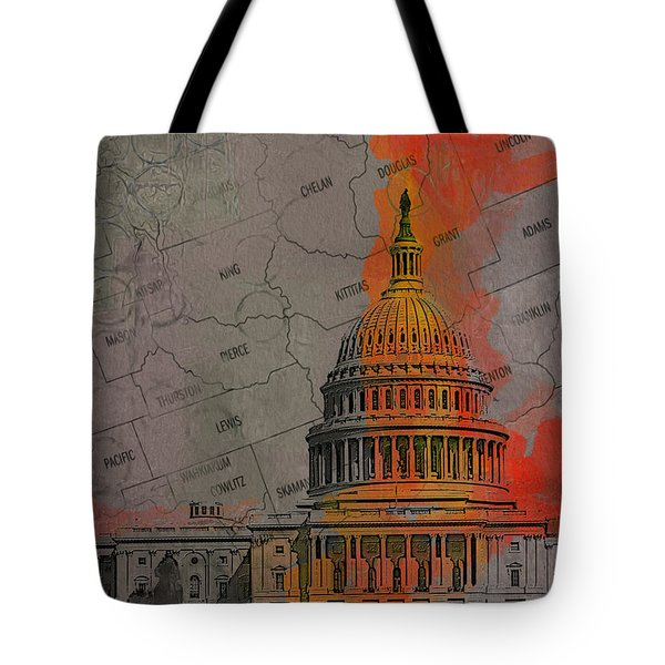 Washington City Collage Tote Bag by Corporate Art Task Force