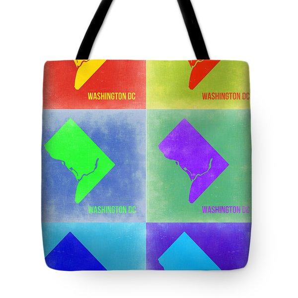 Washington Dc Pop Art Map 3 Tote Bag by Naxart Studio