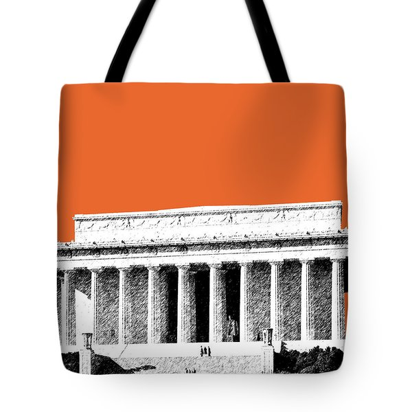 Washington Dc Skyline Lincoln Memorial - Coral Tote Bag