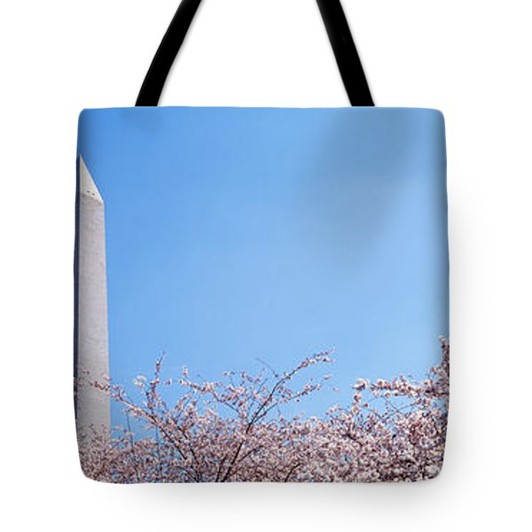 Washington Monument Behind Cherry Tote Bag by Panoramic Images