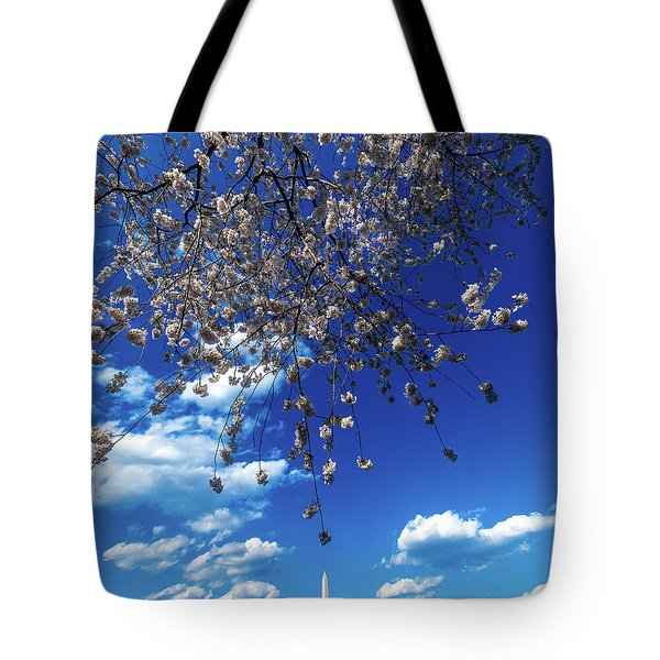 Washington Monument Framed By Cherry Tote Bag