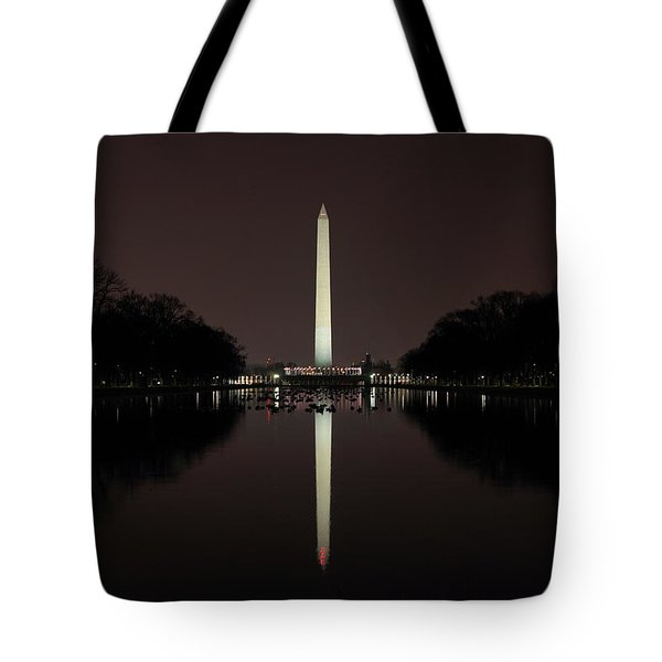 Washington Monument Reflections At Night Tote Bag
