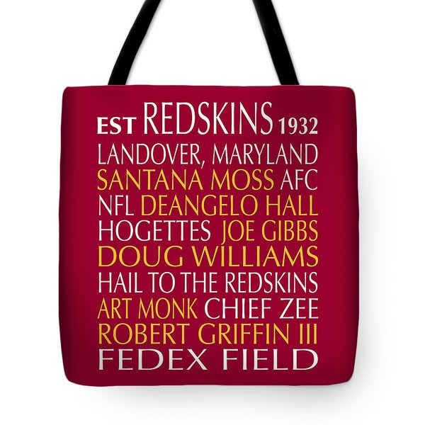 Tote Bag featuring the digital art Washington Redskins by Jaime Friedman
