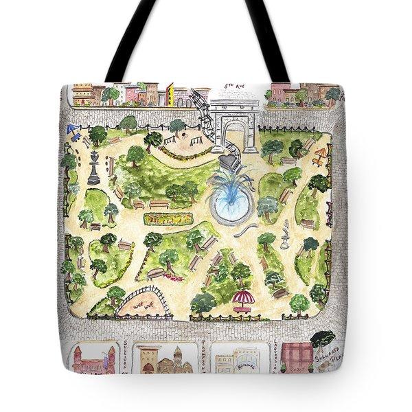 Washington Square Park Map Tote Bag