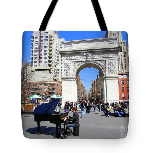 Washington Square Pianist Tote Bag by Ed Weidman