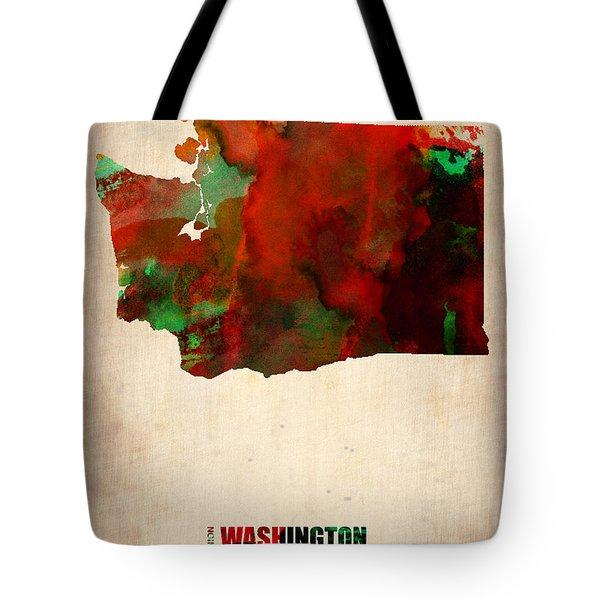 Washington Watercolor Map Tote Bag
