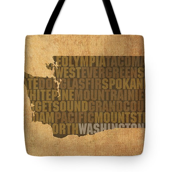 Washington Word Art State Map On Canvas Tote Bag by Design Turnpike
